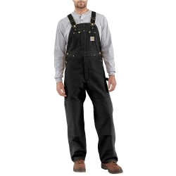 Carhartt - R01 BLK 32 28 - Men's Bib Overalls, Lining Material: Unlined, Inseam: 28, Fits Waist Size: 32, Black