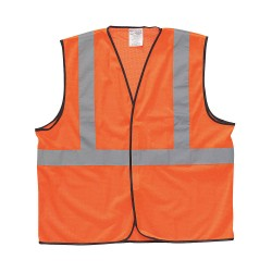 Occunomix - LUX-SSGC-O2/3X - OccuNomix 2X - 3X Hi-Viz Orange Classic Economy Light Weight Polyester Mesh Class 2 Standard Vest With Hook And Loop Closure And 2' Silver Reflective Tape And 1 Pocket, ( Each )
