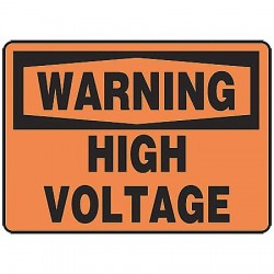 Accuform Signs - MELC325VS - Warning Sign High Voltage 7x10 Self Adhesive Ansi Z535.2 - 1998 Accuform Mfg Inc, Ea