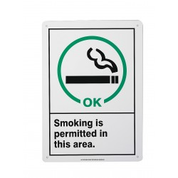 Accuform Signs - MRMK500VP - Info Sign Smoking Permitted 14x10 Plastic Ansi Z535.4 - 1998 Accuform Mfg Inc, Ea