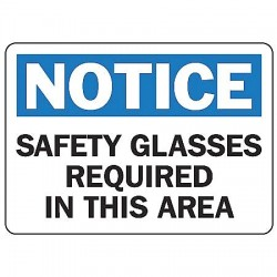 Accuform Signs - MPPE854VA - Accuform Signs 7' X 10' Black, Blue And White 0.040' Aluminum PPE Sign 'NOTICE SAFETY GLASSES REQUIRED IN THIS AREA' With Round Corner, ( Each )