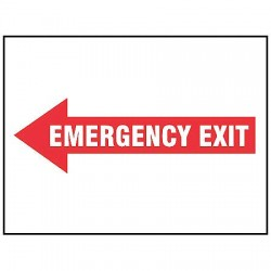 Accuform Signs - MEXT558VS - Exit Sign Emergency Exit Left 7x10 Self Adhesive Accuform Mfg Inc, Ea