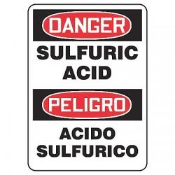 Accuform Signs - SBMCHG014VP - Danger Sign Sulfuric Acid Bilingual 14x10 Plastic 29 Cfr 1910.145 Accuform Mfg Inc, Ea