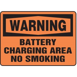 Accuform Signs - MELC307VA - Warning Sign Battery Charging 7x10 Aluminum Ansi Z535.2-1998 Accuform Mfg Inc, Ea