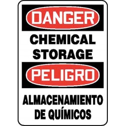 Accuform Signs - SBMCHL192VP - Danger Sign Chemical Storage Bilingual 10x14 Plastic 29 Cfr 1910.145 Accuform Mfg Inc, Ea