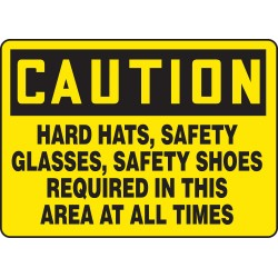 Accuform Signs - MPPE722VS - Accuform Signs 10' X 14' Black And Yellow 4 mils Adhesive Vinyl PPE Sign 'CAUTION HARD HATS, SAFETY GLASSES, SAFETY SHOES REQUIRED BEYOND THIS POINT', ( Each )
