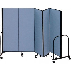 Screenflex - CFSL405 BLUE - 9 ft. 5 in. x 4 ft., 5-Panel Portable Room Divider, Blue