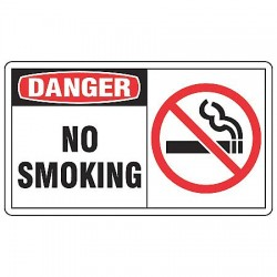 "Accuform Signs - LSMK004VSP - Accuform Signs 3 1/2"" X 5"" Black, Red And White 4 mil Adhesive Vinyl Smoking Control Safety Label ""DANGER NO SMOKING (With Graphic)"" (5 Per Pack)"