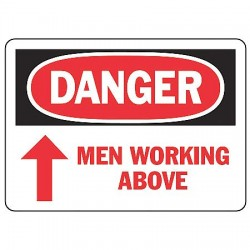 "Accuform Signs - MEQM061VP - Accuform Signs 7"" X 10"" Black, Red And White 0.055"" Plastic Equipment Sign ""DANGER MEN WORKING ABOVE (With Red Arrow)"" With 3/16"" Mounting Hole And Round Corner"