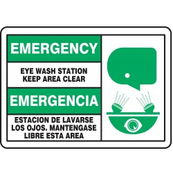 Accuform Signs - SBMFSD928MVP - Info Sign Emergency Eyewash Bilingual 7x10 Plastic 29 Cfr 1910.145 Accuform Mfg Inc, Ea