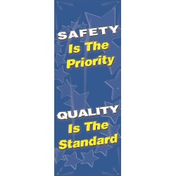 "Accuform Signs - MBR625 - Accuform Signs 74"" H X 28"" W Vinyl Double Sided Vertical Safety Banner ""SAFETY IS THE PRIORITY QUALITY IS THE STANDARD"""