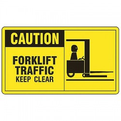 "Accuform Signs - MVHR631VS - Accuform MVHR631VS Safety Sign, Caution - Watch For Forklift Traffic, 7"" X 10"", Adhesive Vinyl"