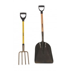 Ampco Safety Tools - S-79FG - Non-Sparking Scoop Shovel, 60-1/2 In OAL