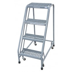 Cotterman - 1004N1820A3E10B3C1P6 - 4-Step Rolling Ladder, Serrated Step Tread, 40 Overall Height, 450 lb. Load Capacity