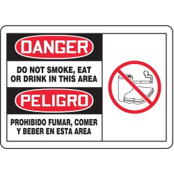 Accuform Signs - SBMSMK013MVP - Danger Sign Do Not Smoke Bilingual 7x10 Plastic 29 Cfr 1910.145 Accuform Mfg Inc, Ea