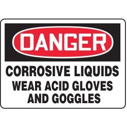 Accuform Signs - MCHL017VP - Danger Sign Corrosive Liquid Wear 7x10 Plastic Accuform Mfg Inc, Ea
