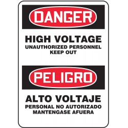 Accuform Signs - SBMELC044VP - Danger Sign High Voltage Bilingual 14x10 Plastic 29 Cfr 1910.145 Accuform Mfg Inc, Ea