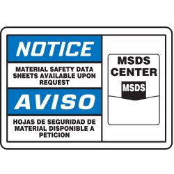Accuform Signs - MSHC804VP - Notice Sign Msds Available Biling 7x10 Plastic 29 Cfr 1910.145 Accuform Mfg Inc, Ea