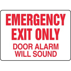 "Accuform Signs - MEXT932VS - Sign, Emergency Exit Only Door Alarm Will Sound, 10x14"", Adhesive Vinyl; 1/Pk"