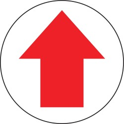 Accuform Signs - MFS700 - Accuform Signs 17' Diameter Red And White 4 mils Adhesive Vinyl Slip-Gard Admittance And Exit Floor Sign '(Arrow Pictorial)', ( Each )