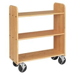 Diversified Woodcrafts - BT211 - Wood Book Truck with 3 Flat Oak Shelves, Northwoods Oak