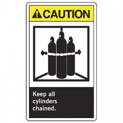 Accuform Signs - LCPG600VSP - Accuform Signs 5' X 3 1/2' Black, Yellow And White 4 mil Adhesive Vinyl Chemical And Hazardous Safety Label 'CAUTION KEEP ALL CYLINDERS CHAINED (With Graphic)' (5 Per Pack), ( Each )