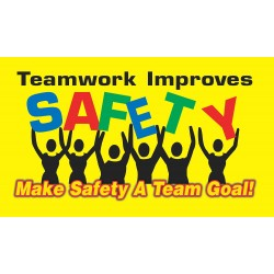 Accuform Signs - MBR424 - Accuform Signs 28' X 4' Vinyl Motivational Banner 'TEAMWORK IMPROVES SAFETY MAKE SAFETY A TEAM GOAL!', ( Each )