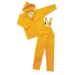 Viking - 2900Y-S - Men's Yellow 150D Rip-Stop Polyester 3-Piece Rainsuit with Hood, Size: S, Fits Chest Size: 34 to 36