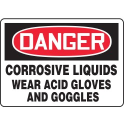 Accuform Signs - MCHL017VS - Danger Sign Corrosive Liquid Wear 7x10 Self Adhesive Accuform Mfg Inc, Ea