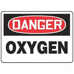 "Accuform Signs - MCHL170VA - Accuform Signs 10"" X 14"" Black, Red And White 0.040"" Aluminum Chemicals And Hazardous Materials Sign ""DANGER OXYGEN"" With Round Corner"