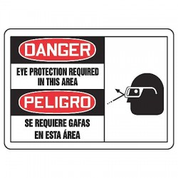 Accuform Signs - SBMPPE076MVA - Danger Sign Eye Protection Required Bilingual 7x10 Aluminum 29 Cfr 1910.145 Accuform Mfg Inc, Ea