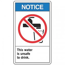 Accuform Signs - LCAW804VSP - Notc Sign Unsafe H2o 5x3 1/2 S, Pk