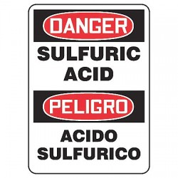 Accuform Signs - SBMCHG014VS - Chemical, Gas or Hazardous Materials, Danger/Peligro, Vinyl, 14 x 10, Adhesive Surface