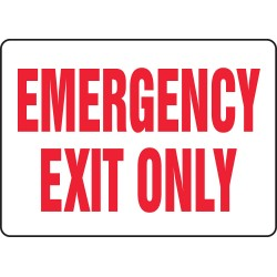 Accuform Signs - MEXT918VA - Emergency Exit Fire Sign, 10 x 14In, R/WHT