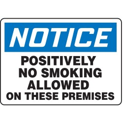 Accuform Signs - MSMK819VA - No Smoking, Notice, Aluminum, 7 x 10, With Mounting Holes, Not Retroreflective
