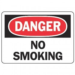 "Accuform Signs - MSMK132VA - Accuform Signs 7"" X 10"" Black, Red And White 0.040"" Aluminum Smoking Control Sign ""DANGER NO SMOKING"" With Round Corner"