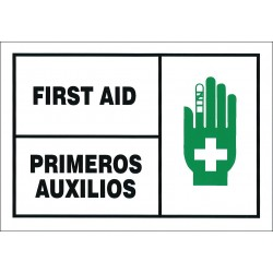 Accuform Signs - SBLSPS506VSP - Bilingual First Aid Kit Label First Aid Primeros Auxilios 3-1/2 5 Vinyl, Pk