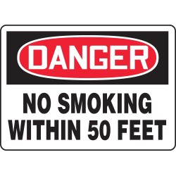 Accuform Signs - MSMK247VP - Accuform Signs 10' X 14' Black, Red And White 0.055' Plastic Smoking Control Sign 'DANGER NO SMOKING WITHIN 50 FEET' With 3/16' Mounting Hole And Round Corner, ( Each )