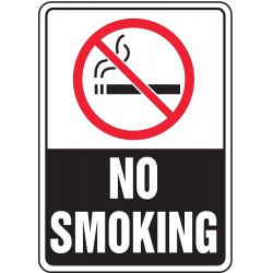 Accuform Signs - MSMK509VP - Accuform Signs 10' X 7' Black, Red And White 0.055' Plastic Smoking Control Sign 'NO SMOKING (With Pictogram)' With 3/16' Mounting Hole And Round Corner