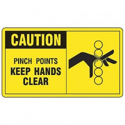 Accuform Signs - MEQM700VP - Caution Sign Pinch Point 7x10 Plastic 29 Cfr 1910.145 Accuform Mfg Inc, Ea