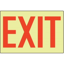 Accuform Signs - PSP335 - Exit Sign, 8 x 14-1/2In, R/Glow, Exit, ENG