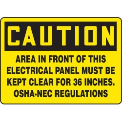 "Accuform Signs - MELC625VS - Accuform Signs 10"" X 14"" Black And Yellow 4 mils Adhesive Vinyl Electrical Sign ""CAUTION AREA IN FRONT OF THIS ELECTRICAL PANEL MUST BE KEPT CLEAR FOR 36 INCHES. OSHA-NEC REGULATIONS"""