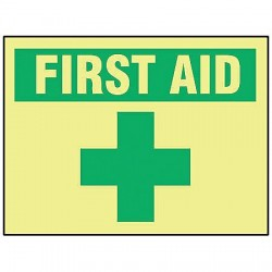 Accuform Signs - MLFS503GF - First Aid Sign, 10 x 14In, GRN/YEL, ENG