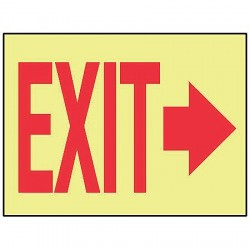 Accuform Signs - MLAD519GF - Exit Sign, 10 x 14In, R/YEL, Self-ADH, Exit