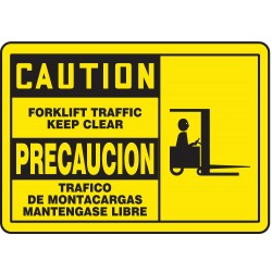 Accuform Signs - SBMVHR665MVS - Caution Sign Forklift Traffic Bilingual 7x10 Self Adhesive 29 Cfr 1910.145 Accuform Mfg Inc, Ea