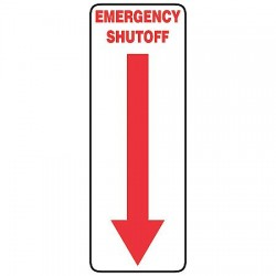 Accuform Signs - MEQM518VS - Emergency Sign Emergency Shutoff Arrow 5x14 Self Adhesive Accuform Mfg Inc, Ea