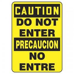 Accuform Signs - SBMADC600VP - Caution Sign Do Not Enter Bilingual 14x10 Plastic 29 Cfr 1910.145 Accuform Mfg Inc, Ea