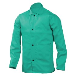 Steiner Industries - 1038-X - Green 100% 12 oz. Flame-Resistant Cotton Welding Jacket, Size: XL, 30 Length