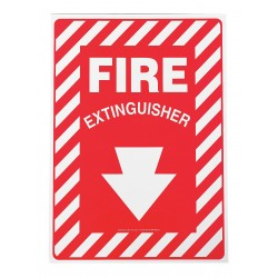 "Accuform Signs - MFXG417VA - Safety Sign, Fire Extinguisher, Arrow Down, 7"" X 10"", Aluminum"