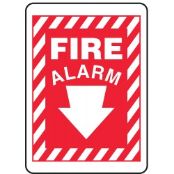 Accuform Signs - MFXG409VS - Fire Alarm Sign, 10 x 14In, WHT/R, Fire ALM